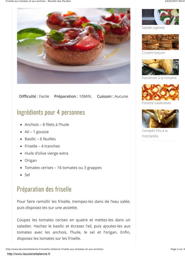 Friselle aux tomates et aux anchois - Recette des Pouilles